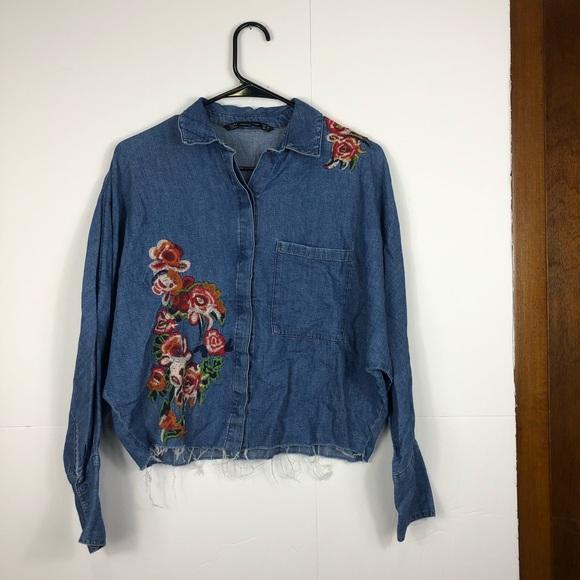 Zara Tops - Zara denim button down with embroidered flowers